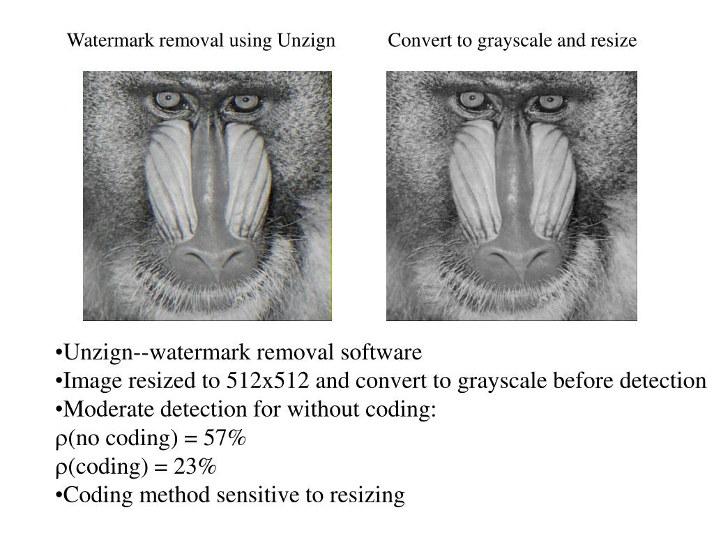 Watermark removal using Unzign