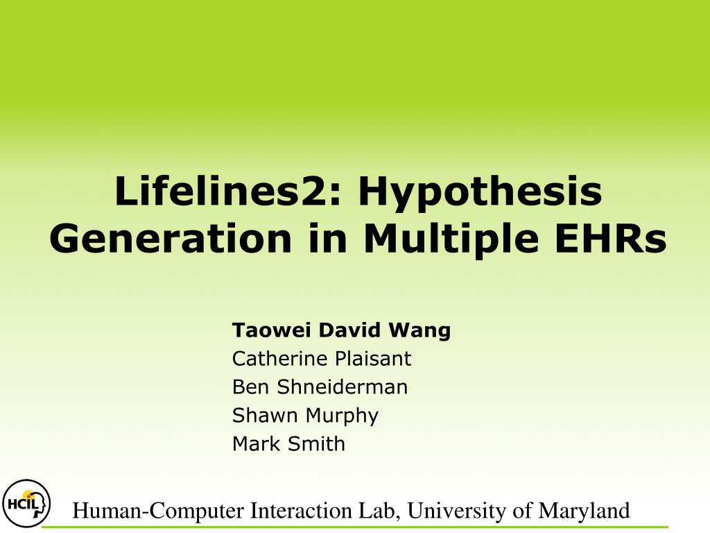 lifelines2 hypothesis generation in multiple ehrs l.