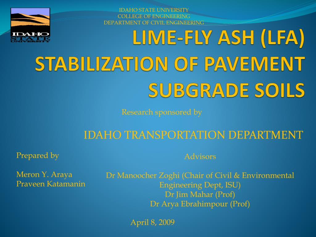 lime fly ash lfa stabilization of pavement subgrade soils l.