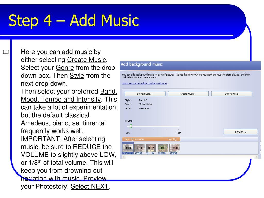 Step 4 – Add Music