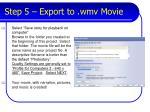 step 5 export to wmv movie
