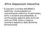 altre disposizioni innovative