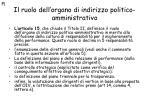 il ruolo dell organo di indirizzo politico amministrativo