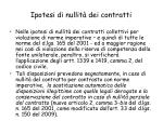 ipotesi di nullit dei contratti