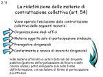 la ridefinizione delle materie di contrattazione collettiva art 54