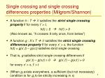 single crossing and single crossing differences properties milgrom shannon