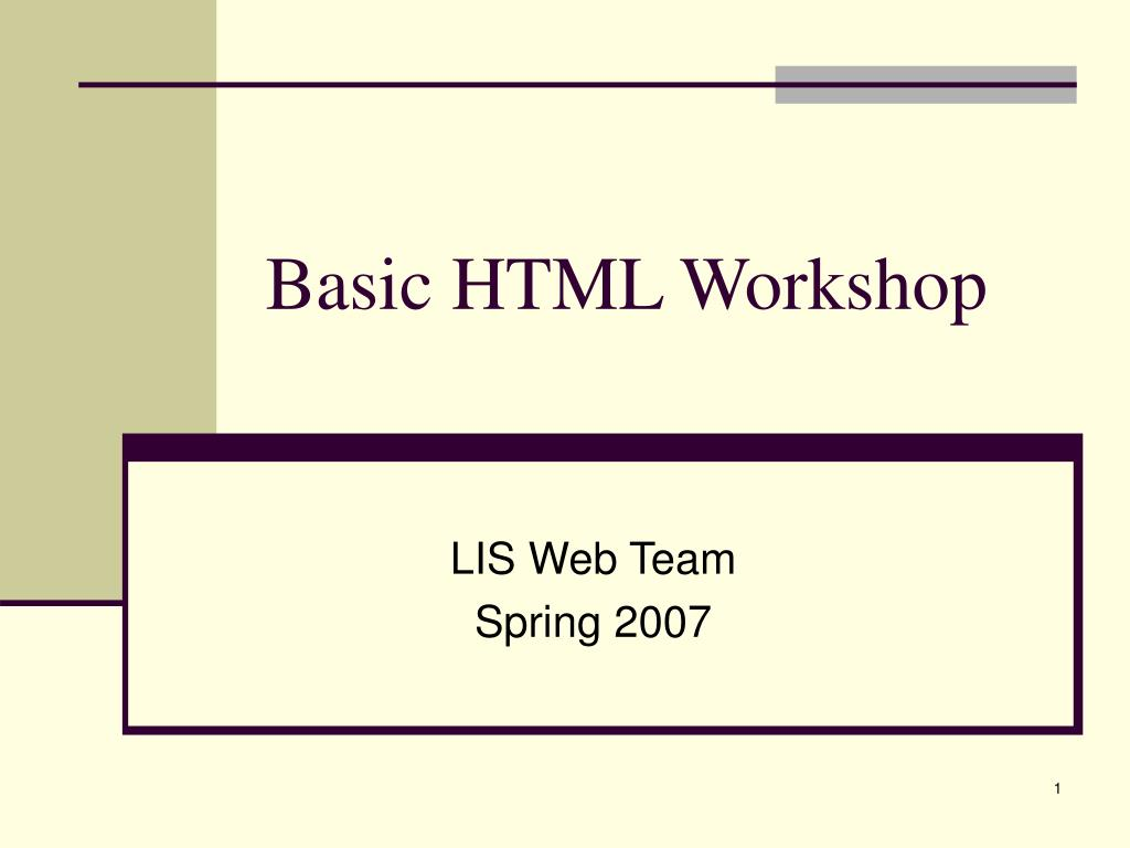 basic html workshop l.