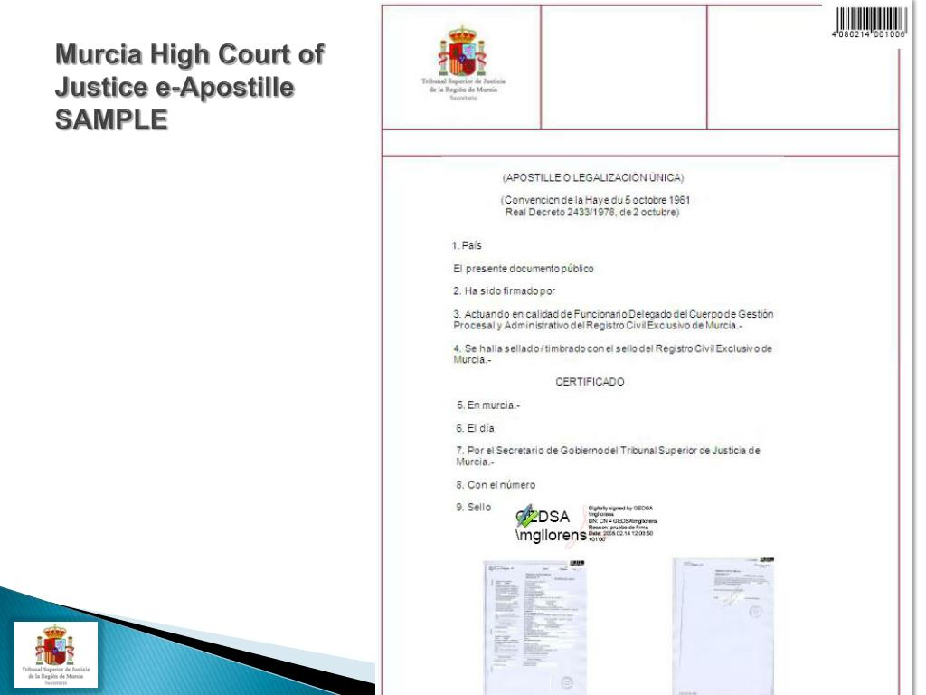 Murcia High Court of Justice e-Apostille