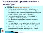 practical ways of operation of e app in murcia spain11