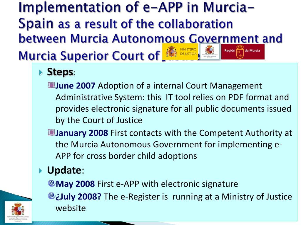Implementation of e-APP in Murcia-Spain