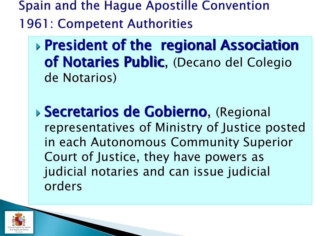 Spain and the Hague Apostille Convention  1961: Competent Authorities