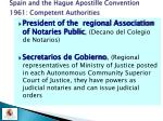 spain and the hague apostille convention 1961 competent authorities