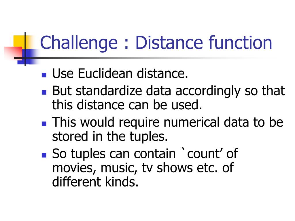 Challenge : Distance function