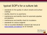 typical sop s for a culture lab