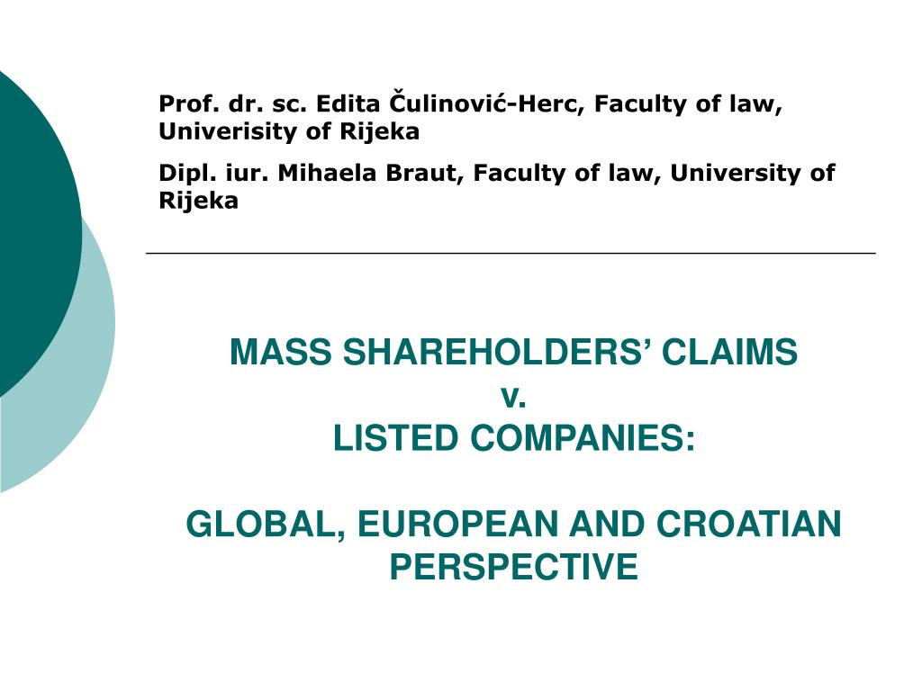 mass shareholder s claims v listed companies global european and croatian perspective l.