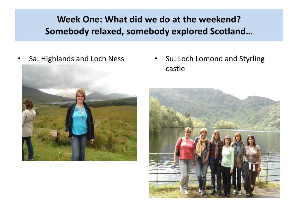 Week One: What did we do at the weekend?