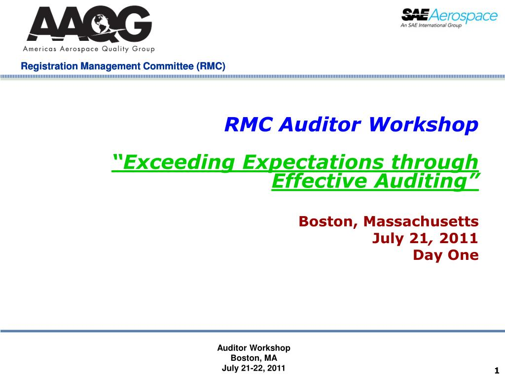 rmc auditor workshop exceeding expectations through effective auditing l.