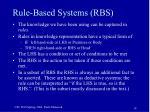 rule based systems rbs
