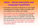 orkut social interaction and language acquisition