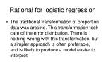 rational for logistic regression