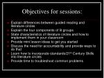 objectives for sessions