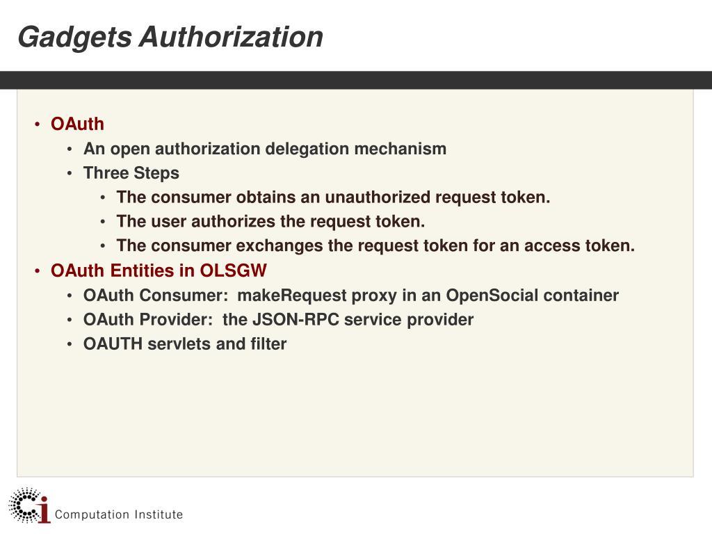 Gadgets Authorization