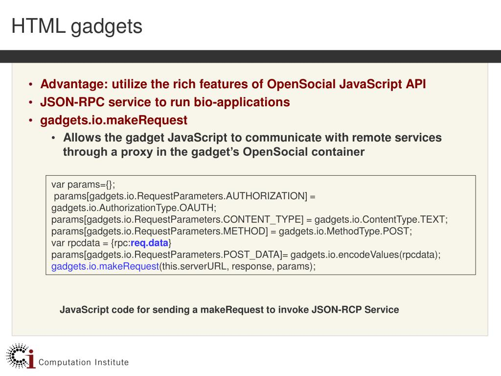 HTML gadgets