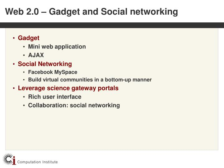 Web 2 0 gadget and social networking
