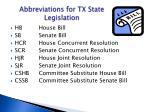 abbreviations for tx state legislation