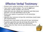 effective verbal testimony