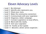 eleven advocacy levels