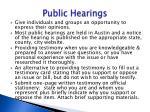 public hearings