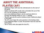 about the additional player ap