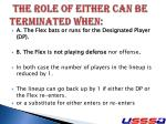 the role of either can be terminated when