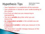 hypothesis tips