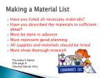 making a material list