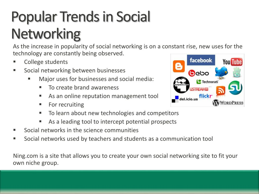 Popular Trends in Social Networking