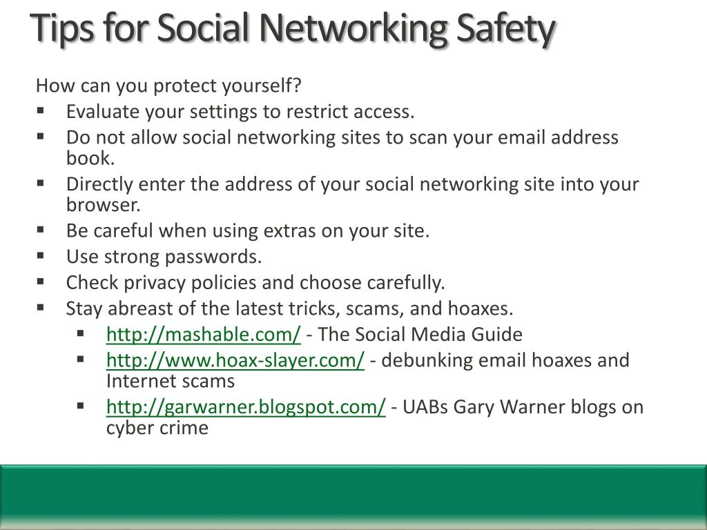 Tips for Social Networking Safety