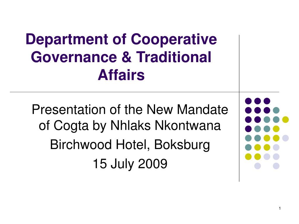 department of cooperative governance traditional affairs l.