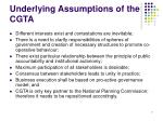 underlying assumptions of the cgta