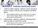 alexia ii traditional classification system
