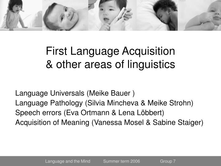 first language acquisition other areas of linguistics n.