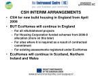 csh interim arrangements