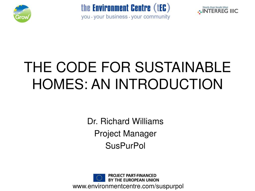 the code for sustainable homes an introduction l.
