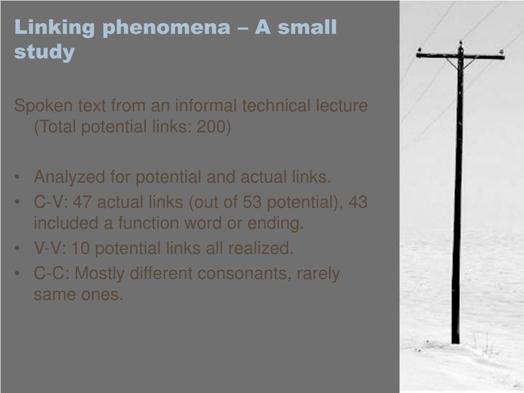 Linking phenomena – A small study