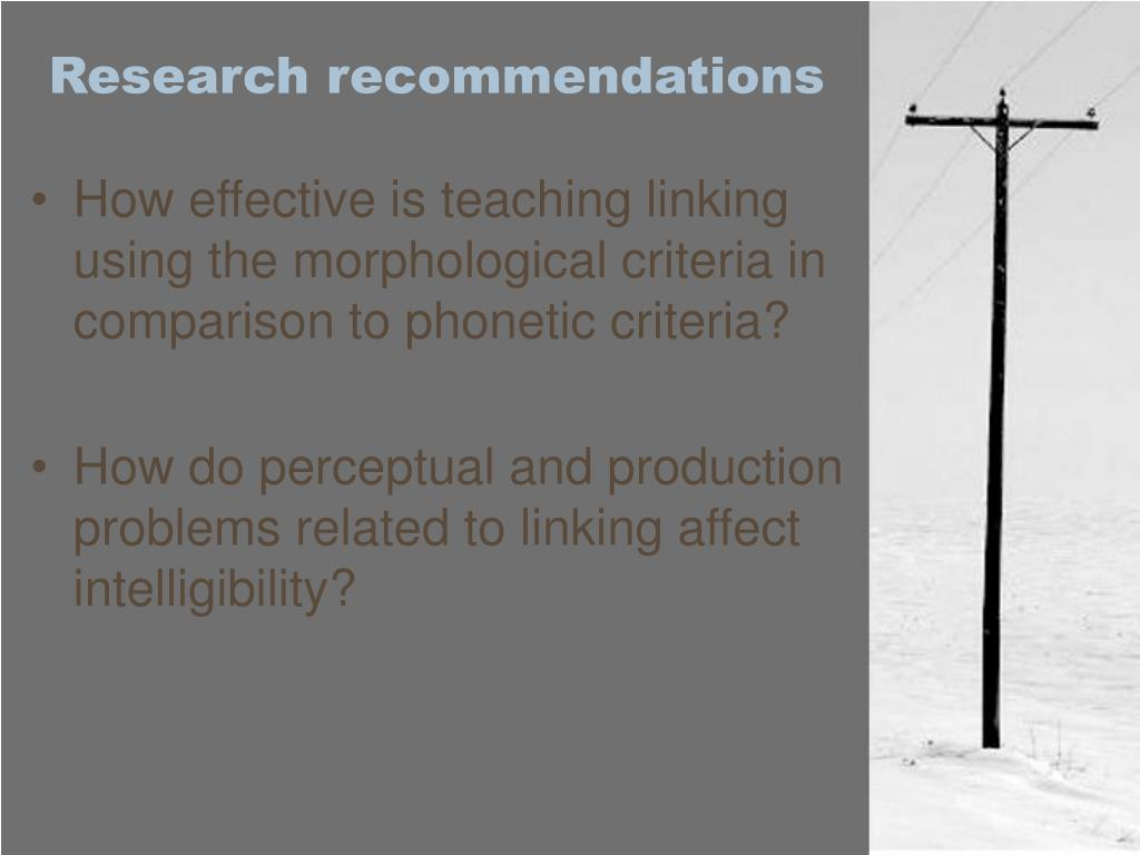 Research recommendations