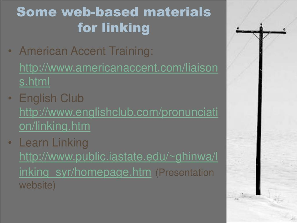 Some web-based materials for linking