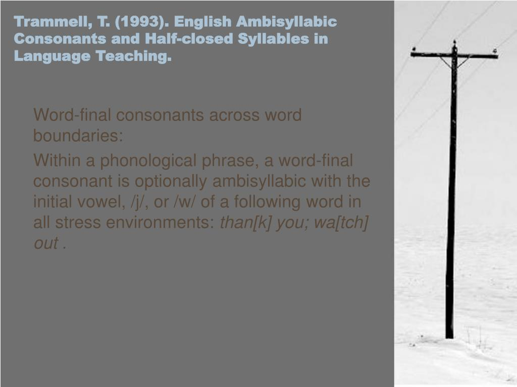 Trammell, T. (1993). English Ambisyllabic Consonants and Half-closed Syllables in Language Teaching.