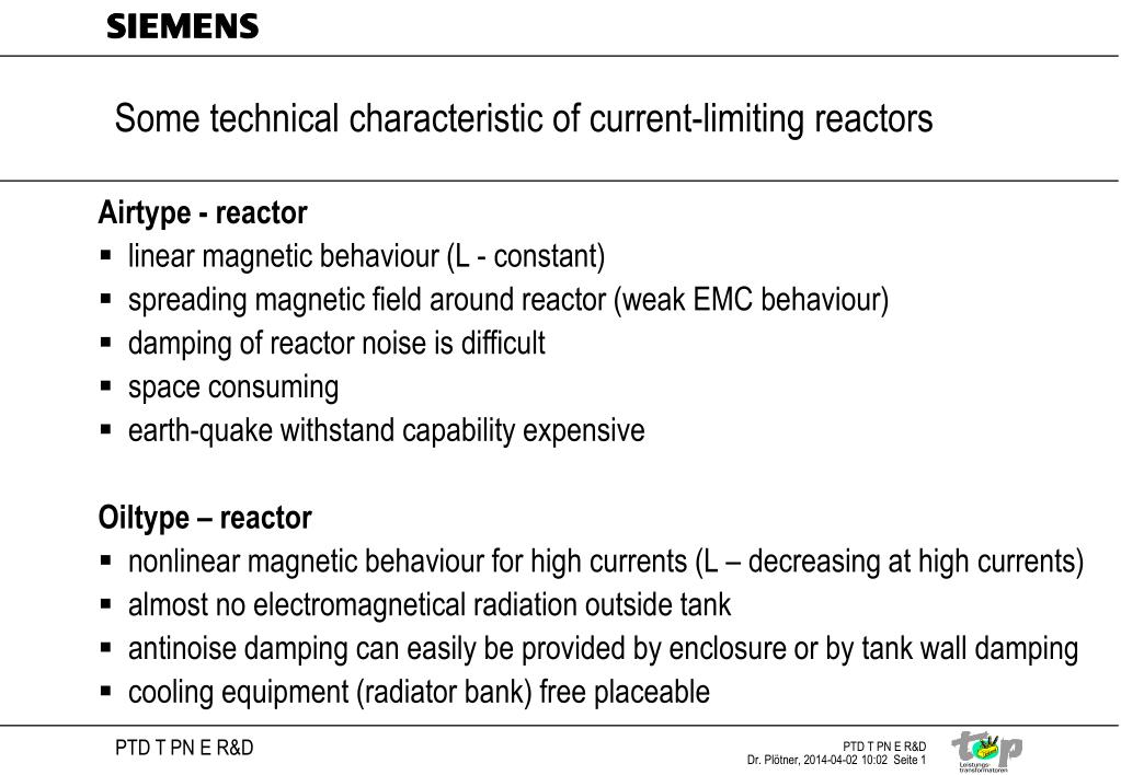some technical characteristic of current limiting reactors l.