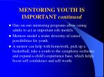 mentoring youth is important continued